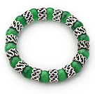 10mm Round Grass Green Cats Eye and Tibet Silver Spacer Ring Accessories Stretch Bracelet