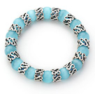 10mm Round Light Blue Color Cats Eye and Tibet Silver Spacer Ring Accessories Stretch Bracelet