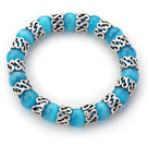 10mm Round Lake Blue Color Cats Eye and Tibet Silver Spacer Ring Accessories Stretch Bracelet