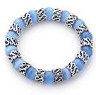 10mm Round Sky Blue Color Cats Eye and Tibet Silver Spacer Ring Accessories Stretch Bracelet