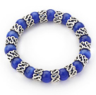 10mm Round Sapphire Blue Color Cats Eye and Tibet Silver Spacer Ring Accessories Stretch Bracelet