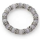 10mm Round Gray Color Cats Eye and Tibet Silver Spacer Ring Accessories Stretch Bracelet