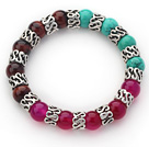 10mm Round Tiger Eye and Turquoise and Pink Agate and Tibet Silver Spacer Ring Accessories Stretch Multi Color Bracelet