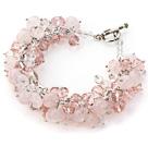 Pink Color Assorted Rose Quartz Chips Bracelet with Silver Color Metal Chain
