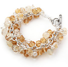 Yellow Color Assorted Citrine Chips Bracelet with Silver Color Metal Chain