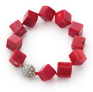 Cube Shape 12mm Red Coral Knotted Bracelet with Magnetic Clasp under $ 40
