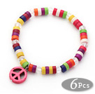 6 Pices Dyed Multi Color Wheel Shape Turquoise Stretch Bangle with Pink Peace Accessory