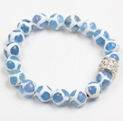 Fashion Blue White Hand-Painted Round Agate Beaded Elastic Bracelet
