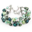 2013 Summer New Design Green Series Freshwater Pearl Crocheted Metal Wire Bracelet with Extendable Chain