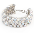2013 Summer New Design White and Gray Freshwater Pearl Crocheted Metal Wire Cuff Bracelet