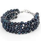 2013 Summer New Design Black Freshwater Pearl Crocheted Metal Wire Cuff Bracelet