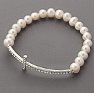 6-7mm White Freshwater Pearl and Sideway/Side Way White Rhinestone Cross Beaded Stretch Bracelet