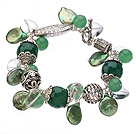 Vintage Style Heart Shape Clear Crystal Green Agate Button Pearl And Aventurine Tibet Silver Accessory Bracelet With Toggle Clasp