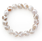 10mm Round White Pattern Fire Agate Stretch Beaded Bangle Bracelet