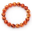 10mm Round Orange Red Pattern Fire Agate Stretch Beaded Bangle Bracelet