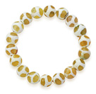 10mm Round White and Peridot Color Pattern Fire Agate Stretch Beaded Bangle Bracelet
