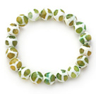 10mm Round White and Green Pattern Fire Agate Stretch Beaded Bangle Bracelet
