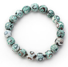 10mm Round Green Pattern Fire Agate Stretch Beaded Bangle Bracelet