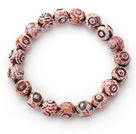 10mm Round Pink Pattern Fire Agate Stretch Beaded Bangle Bracelet