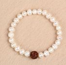 Simple Stretchy Style 7-8mm Natural White Freshwater Pearl Red Rhinestone Bead Elastic Bracelet