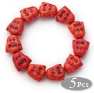 5 Pieces Dyed Brick Red Color Turquoise Maitreya Buddha Head Stretch Bangle Bracelets