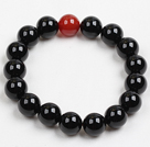 Fashion 10Mm Black And Red Agate Beaded Elastic Bracelet