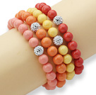4 Pieces Colorful Round Seashell Beaded Stretch Bangle Bracelet with White Rhinestone Ball ( Random Color )