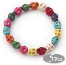 5 peças tingidas multi cor de turquesa do crânio estiramento pulseiras