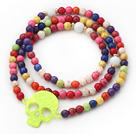Assorted Round Dyed Multi Color Turquoise 4 Times Wrap Bangle Bracelet with Skull under $ 40