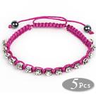 5 Pezzi Viola filo rosso e Bianco Quadrato strass e ematite Woven Bracelets coulisse