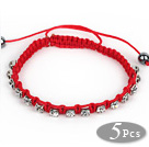 5 Pieces Red Thread and White Square Shape Rhinestone and Hematite Woven Adjustable Drawstring Bracelets