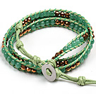 Fashion Style Green Aventurine Beads Three Times Wrap Bangle Bracelet under $ 7