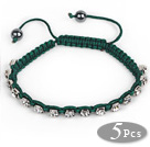 5 Pieces Dark Green Thread and White Square Shape Rhinestone and Hematite Woven Adjustable Drawstring Bracelets