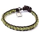 Popular Single Strand Natural Round Peridot Beads and Brown Leather Bracelet with Hear Charm