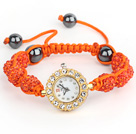 Fashion Style Orange Red Rhinestone Ball Adjustable Drawstring Bracelet with Golden Color Watch
