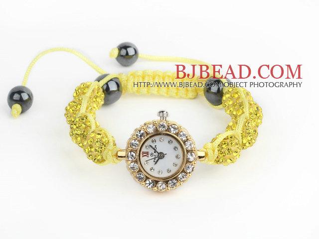 Fashion Style Lemon Yellow Rhinestone Ball Adjustable Drawstring Bracelet with Golden Color Watch