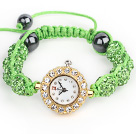 Fashion Style Apple Green Rhinestone Ball Adjustable Drawstring Bracelet with Golden Color Watch