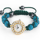 Fashion Style Peacock Blue Rhinestone Ball Adjustable Drawstring Bracelet with Golden Color Watch