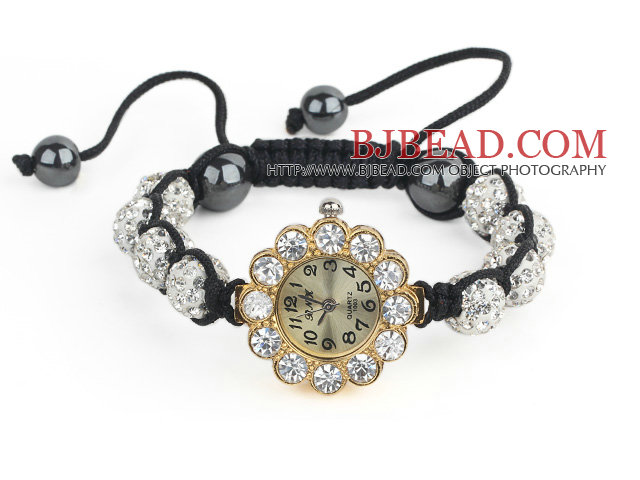 Fashion Style White Rhinestone Ball Adjustable Drawstring Bracelet with Golden Color Flower Shape Watch