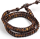 Fashion Style Tiger Eye Stone Beads Three Times Wrap Bangle Bracelet under $ 7