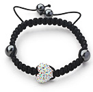 Fashion Style Heart Shape White with Colorful Rhinestone and Hematite and Black Thread Woven Adjustable Drawstring Bracelet under $ 40