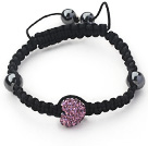 Fashion Style Heart Shape Purple Rhinestone and Hematite and Black Thread Woven Adjustable Drawstring Bracelet under $ 40