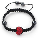 Fashion Style Heart Shape Red Rhinestone and Hematite and Black Thread Woven Adjustable Drawstring Bracelet