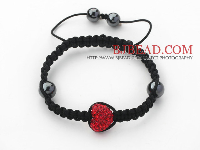 Fashion Style Heart Shape Red Rhinestone and Hematite and Black Thread Woven Adjustable Drawstring Bracelet