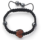 Fashion Style Heart Shape Brown Rhinestone and Hematite and Black Thread Woven Adjustable Drawstring Bracelet under $ 40
