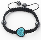 Fashion Style Heart Shape Lake Blue Rhinestone and Hematite and Black Thread Woven Adjustable Drawstring Bracelet under $ 40