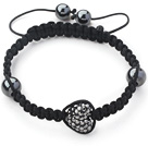 Fashion Style Heart Shape Steel Color Rhinestone and Hematite and Black Thread Woven Adjustable Drawstring Bracelet under $ 40