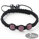 3 Pieces Round Violet Purple Rhinestone Ball and Hematite and Black Thread Woven Adjustable Drawstring Bracelets ( Total 3 Pieces Bracelets) under $ 40