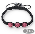 3 Pieces Round Hot Pink Rhinestone Ball and Hematite and Black Thread Woven Adjustable Drawstring Bracelets ( Total 3 Pieces Bracelets) under $ 40