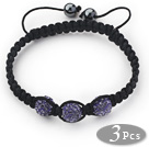 3 Pieces Round Purple Rhinestone Ball and Hematite and Black Thread Woven Adjustable Drawstring Bracelets ( Total 3 Pieces Bracelets) under $ 40